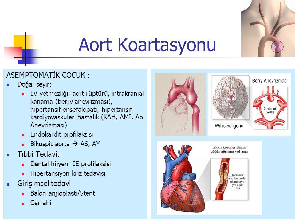 ASEMPTOMATİK ÇOCUK : Doğal seyir: LV yetmezliği, aort rüptürü, intrakranial kanama (berry anevrizması), hipertansif ensefalopati, hipertansif kardiyov