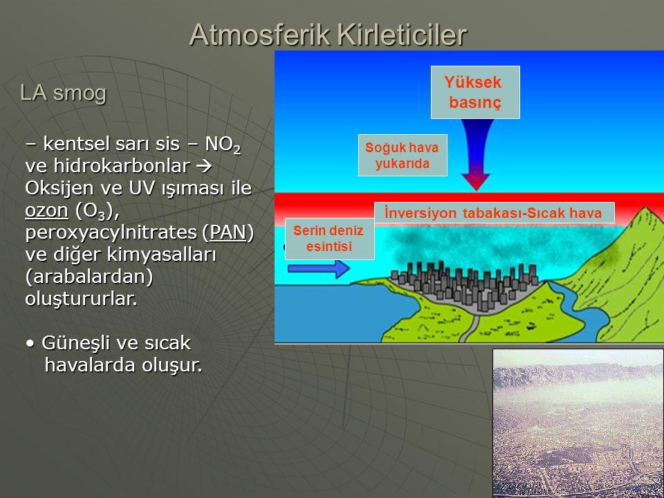 LA smog Atmosferik Kirleticiler Yüksek basınç İnversiyon tabakası-Sıcak hava Soğuk hava yukarıda Serin deniz esintisi – kentsel sarı sis – NO 2 ve hid