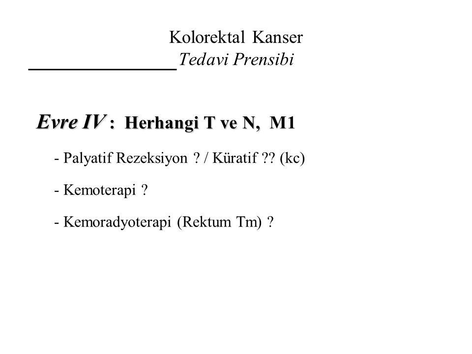 Kolorektal Kanser Tedavi Prensibi Evre IV : Herhangi T ve N, Evre IV : Herhangi T ve N, M1 - Palyatif Rezeksiyon ? / Küratif ?? (kc) - Kemoterapi ? -