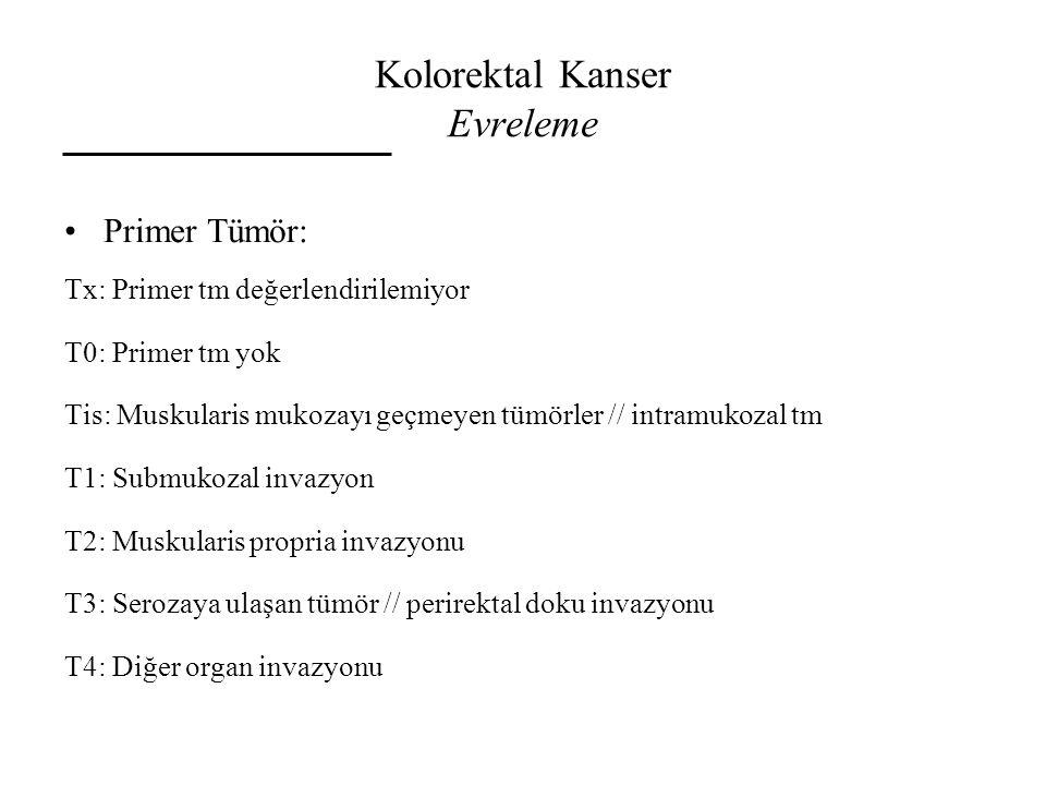 Kolorektal Kanser Evreleme Primer Tümör: Tx: Primer tm değerlendirilemiyor T0: Primer tm yok Tis: Muskularis mukozayı geçmeyen tümörler // intramukoza