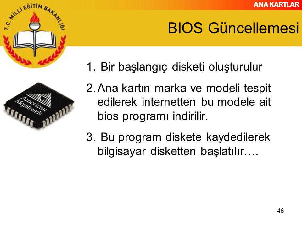 ANA KARTLAR 46 BIOS Güncellemesi 1. Bir başlangıç disketi oluşturulur 2.Ana kartın marka ve modeli tespit edilerek internetten bu modele ait bios prog