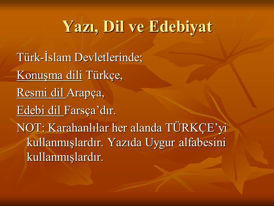 Yazı, Dil ve Edebiyat Türk-İslam Devletlerinde; Konuşma dili Türkçe, Resmi dil Arapça, Edebi dil Farsça'dır.
