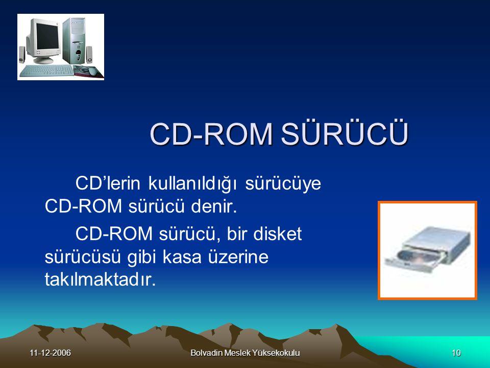 11-12-2006Bolvadin Meslek Yüksekokulu10 CD-ROM SÜRÜCÜ CD'lerin kullanıldığı sürücüye CD-ROM sürücü denir.