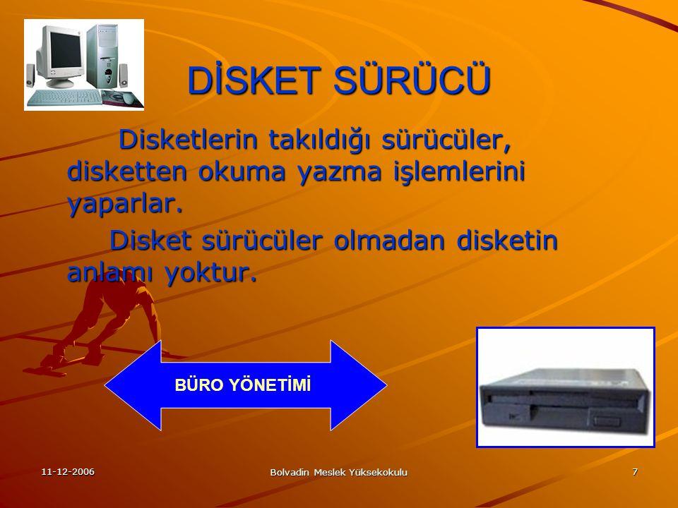 11-12-2006 Bolvadin Meslek Yüksekokulu 7 DİSKET SÜRÜCÜ Disketlerin takıldığı sürücüler, disketten okuma yazma işlemlerini yaparlar.