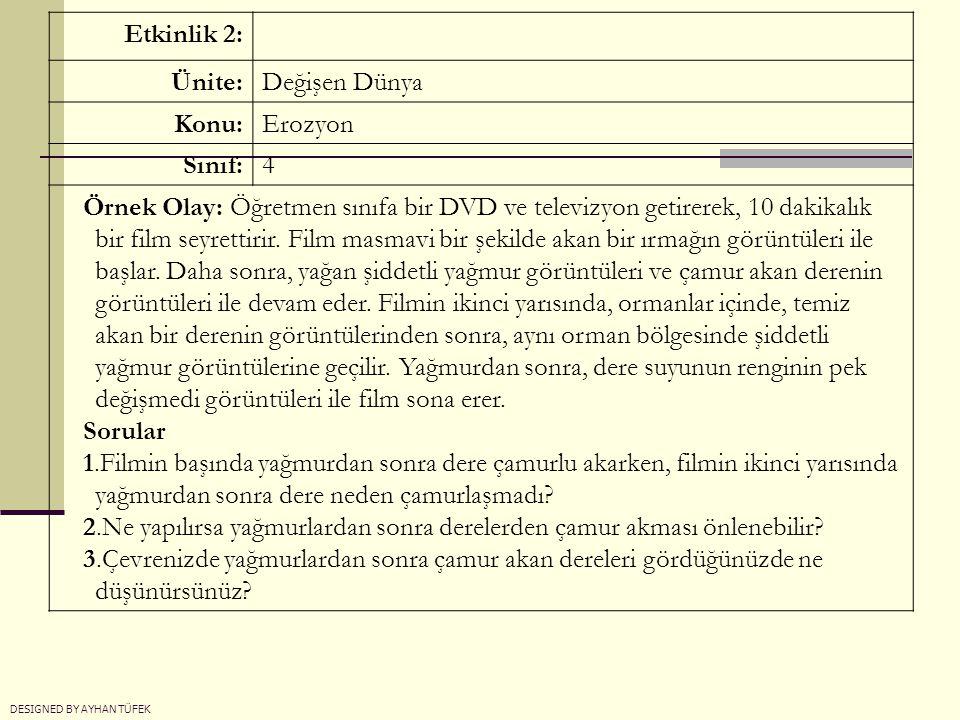 Etkinlik 2: Ünite:Değişen Dünya Konu:Erozyon Sınıf:4 Örnek Olay: Öğretmen sınıfa bir DVD ve televizyon getirerek, 10 dakikalık bir film seyrettirir. F