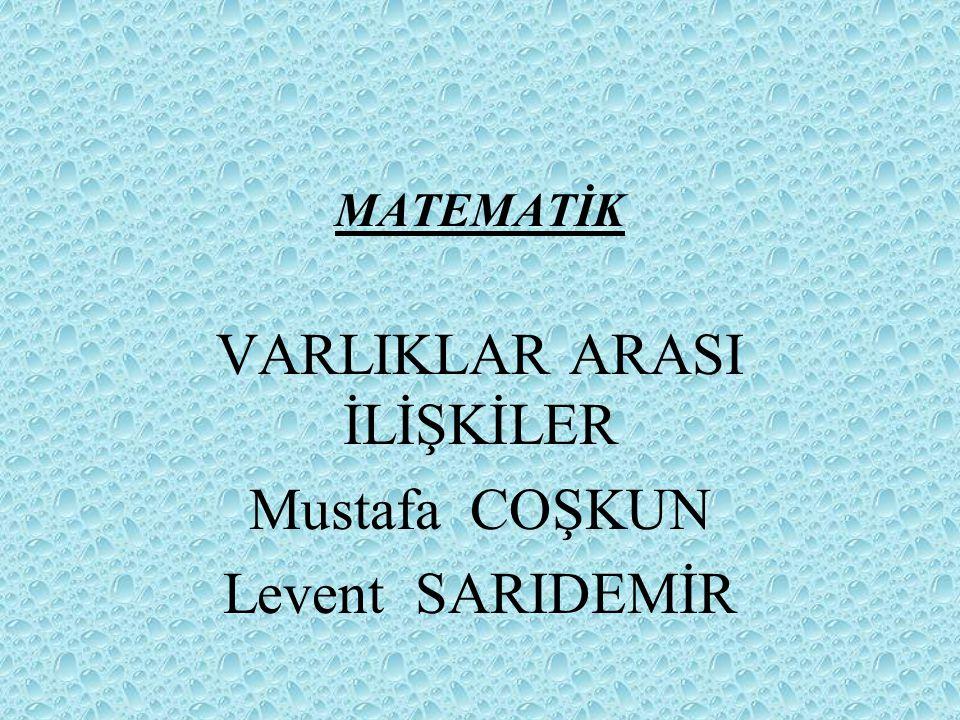 MATEMATİK VARLIKLAR ARASI İLİŞKİLER Mustafa COŞKUN Levent SARIDEMİR