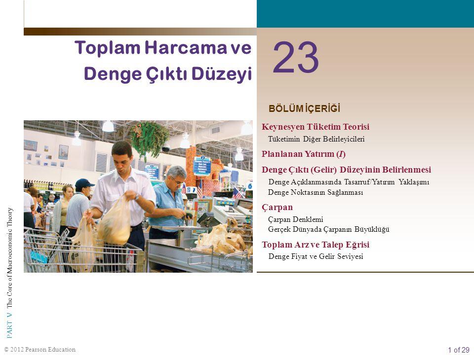 1 of 29 PART V The Core of Macroeconomic Theory © 2012 Pearson Education BÖLÜM İÇERİĞİ 23 Toplam Harcama ve Denge Çıktı Düzeyi Keynesyen Tüketim Teori