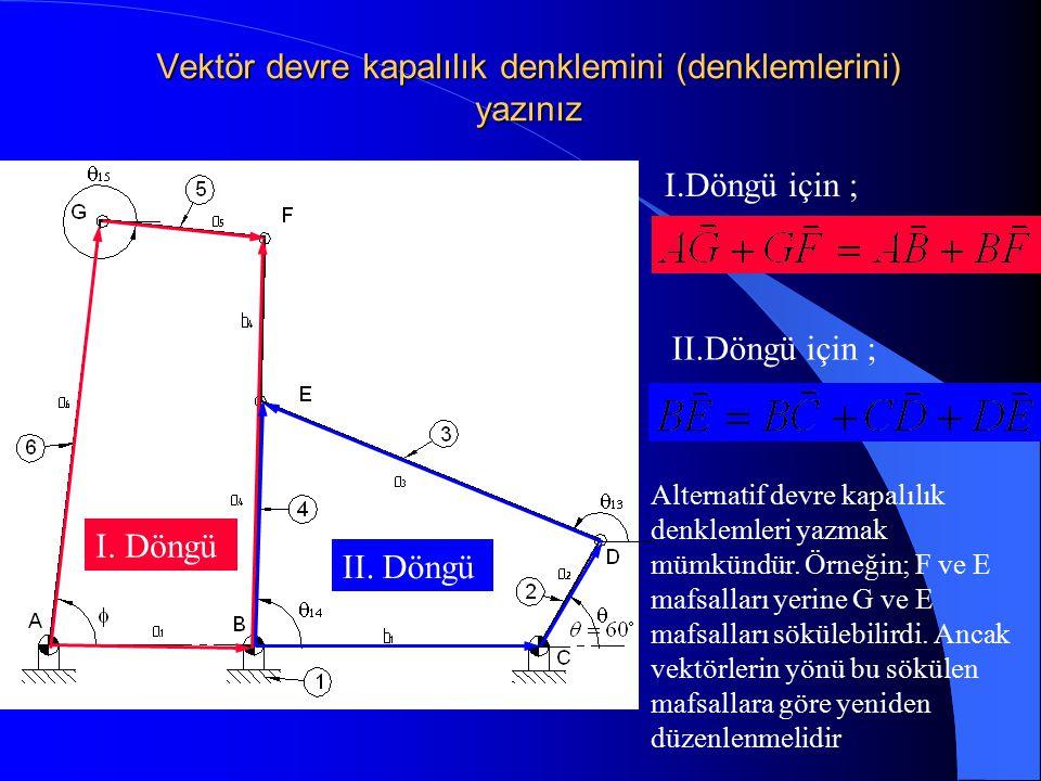 Vektör devre kapalılık denklemini (denklemlerini) yazınız I.Döngü için ; II.Döngü için ; I. Döngü II. Döngü Alternatif devre kapalılık denklemleri yaz