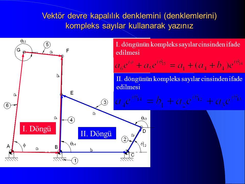 I. Döngü II. Döngü I. döngünün kompleks sayılar cinsinden ifade edilmesi II. döngünün kompleks sayılar cinsinden ifade edilmesi Vektör devre kapalılık