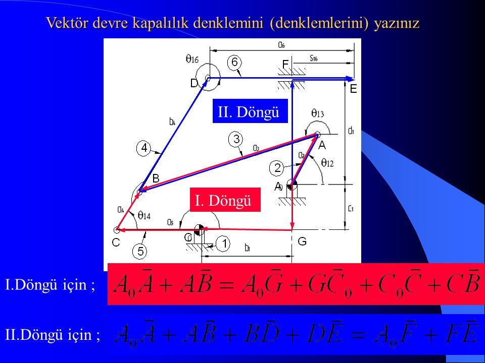 I. Döngü II. Döngü I.Döngü için ; II.Döngü için ; Vektör devre kapalılık denklemini (denklemlerini) yazınız