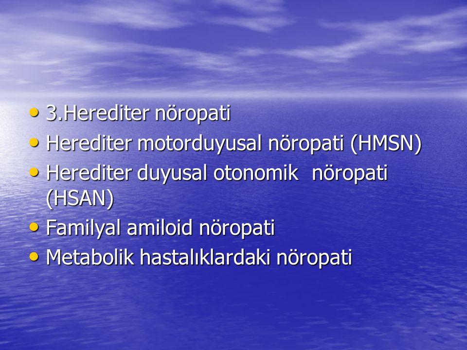 3.Herediter nöropati 3.Herediter nöropati Herediter motorduyusal nöropati (HMSN) Herediter motorduyusal nöropati (HMSN) Herediter duyusal otonomik nöropati (HSAN) Herediter duyusal otonomik nöropati (HSAN) Familyal amiloid nöropati Familyal amiloid nöropati Metabolik hastalıklardaki nöropati Metabolik hastalıklardaki nöropati