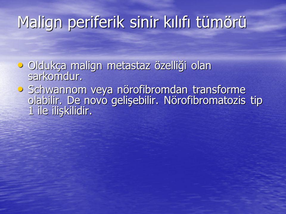 Malign periferik sinir kılıfı tümörü Oldukça malign metastaz özelliği olan sarkomdur.