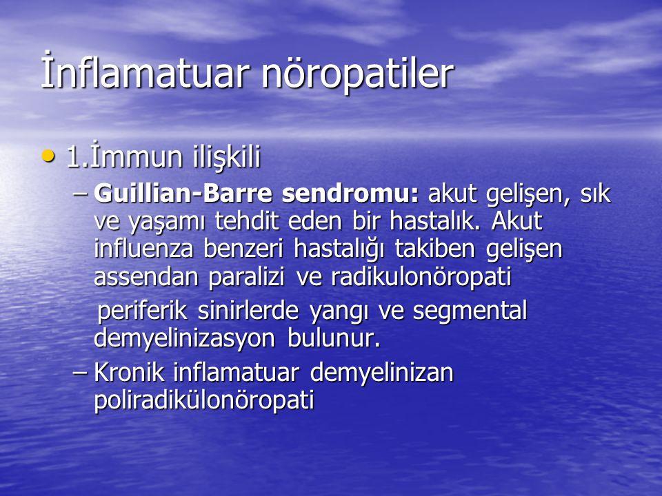İnflamatuar nöropatiler 1.İmmun ilişkili 1.İmmun ilişkili –Guillian-Barre sendromu: akut gelişen, sık ve yaşamı tehdit eden bir hastalık.
