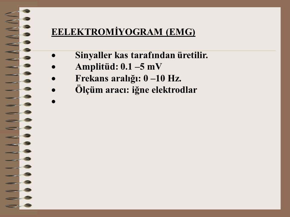 EELEKTROMİYOGRAM (EMG)  Sinyaller kas tarafından üretilir.  Amplitüd: 0.1 –5 mV  Frekans aralığı: 0 –10 Hz.  Ölçüm aracı: iğne elektrodlar 