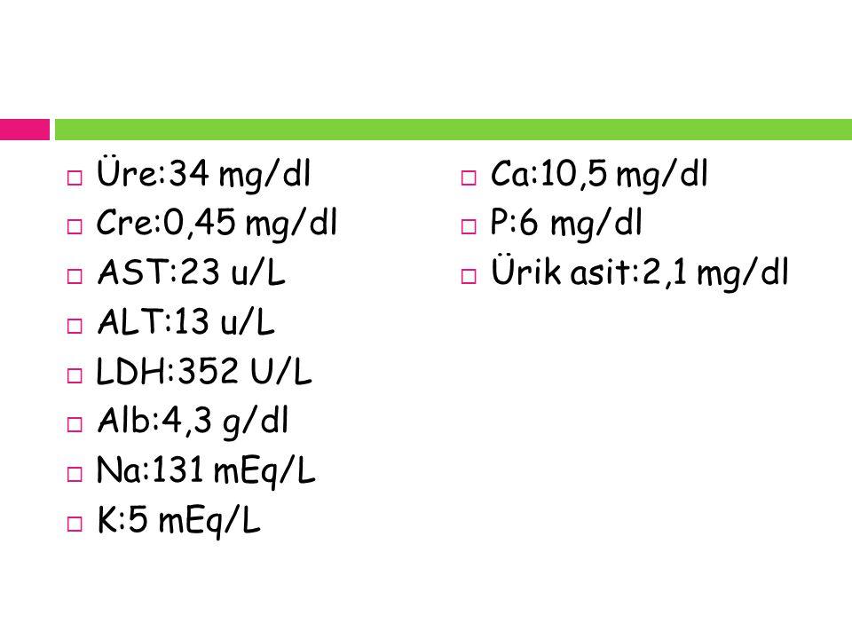  Üre:34 mg/dl  Cre:0,45 mg/dl  AST:23 u/L  ALT:13 u/L  LDH:352 U/L  Alb:4,3 g/dl  Na:131 mEq/L  K:5 mEq/L  Ca:10,5 mg/dl  P:6 mg/dl  Ürik a