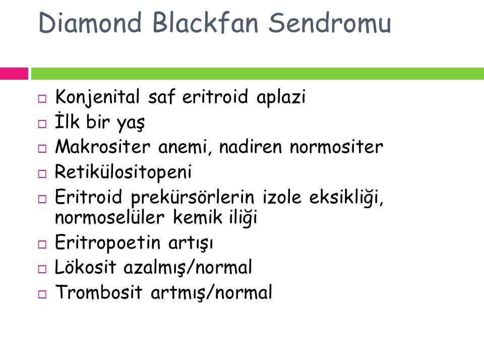 Diamond Blackfan Sendromu  Konjenital saf eritroid aplazi  İlk bir yaş  Makrositer anemi, nadiren normositer  Retikülositopeni  Eritroid prekürsö