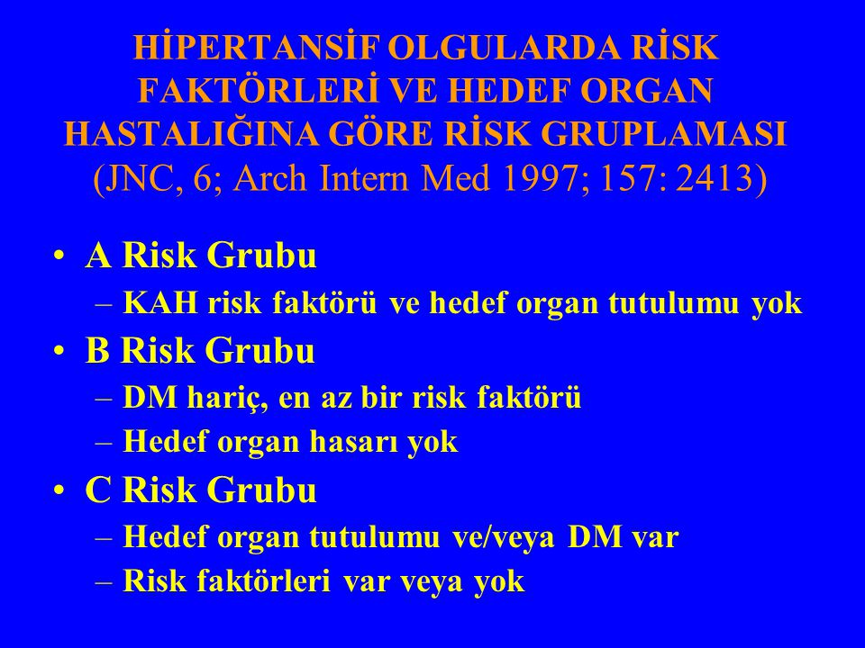 HİPERTANSİF OLGULARDA RİSK FAKTÖRLERİ VE HEDEF ORGAN HASTALIĞINA GÖRE RİSK GRUPLAMASI (JNC, 6; Arch Intern Med 1997; 157: 2413) A Risk Grubu –KAH risk