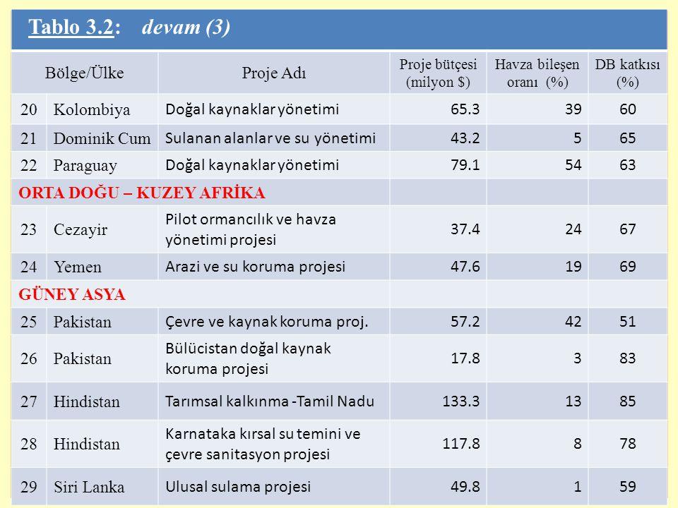12 Tablo 3.2: devam (3) Bölge/ÜlkeProje Adı Proje bütçesi (milyon $) Havza bileşen oranı (%) DB katkısı (%) 20Kolombiya Doğal kaynaklar yönetimi65.339