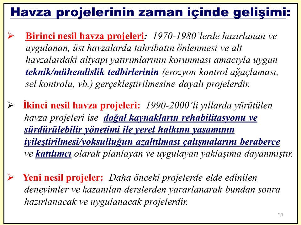 Havza projelerinin zaman içinde gelişimi:  Birinci nesil havza projeleri: 1970-1980'lerde hazırlanan ve uygulanan, üst havzalarda tahribatın önlenmes