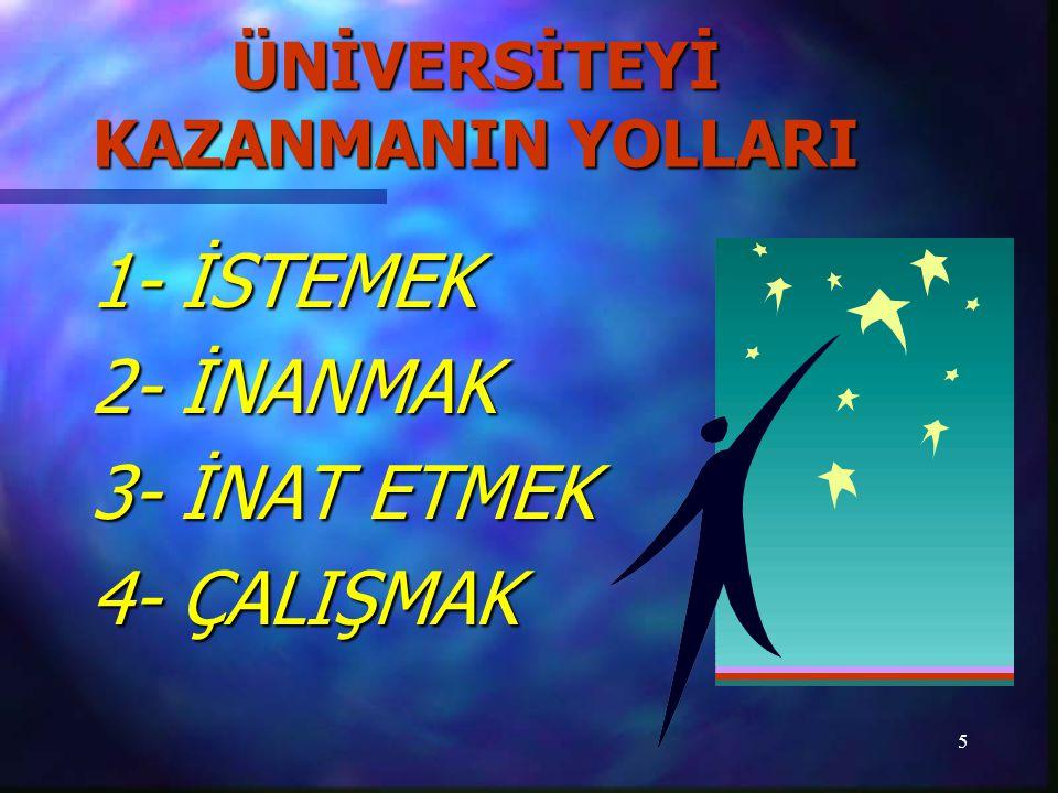 5 ÜNİVERSİTEYİ KAZANMANIN YOLLARI 1- İSTEMEK 2- İNANMAK 3- İNAT ETMEK 4- ÇALIŞMAK