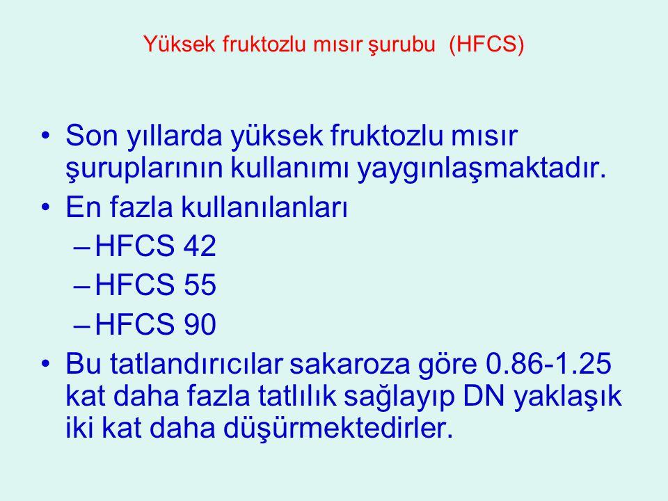 Yüksek fruktozlu mısır şurubu (HFCS) Son yıllarda yüksek fruktozlu mısır şuruplarının kullanımı yaygınlaşmaktadır. En fazla kullanılanları –HFCS 42 –H