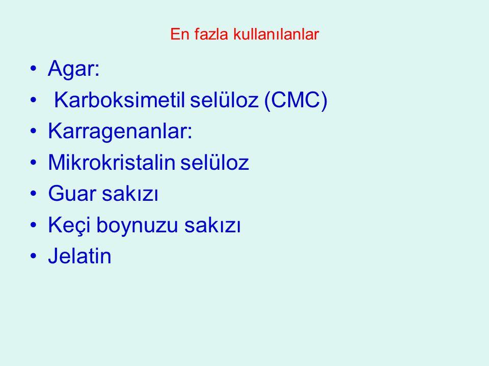 En fazla kullanılanlar Agar: Karboksimetil selüloz (CMC) Karragenanlar: Mikrokristalin selüloz Guar sakızı Keçi boynuzu sakızı Jelatin