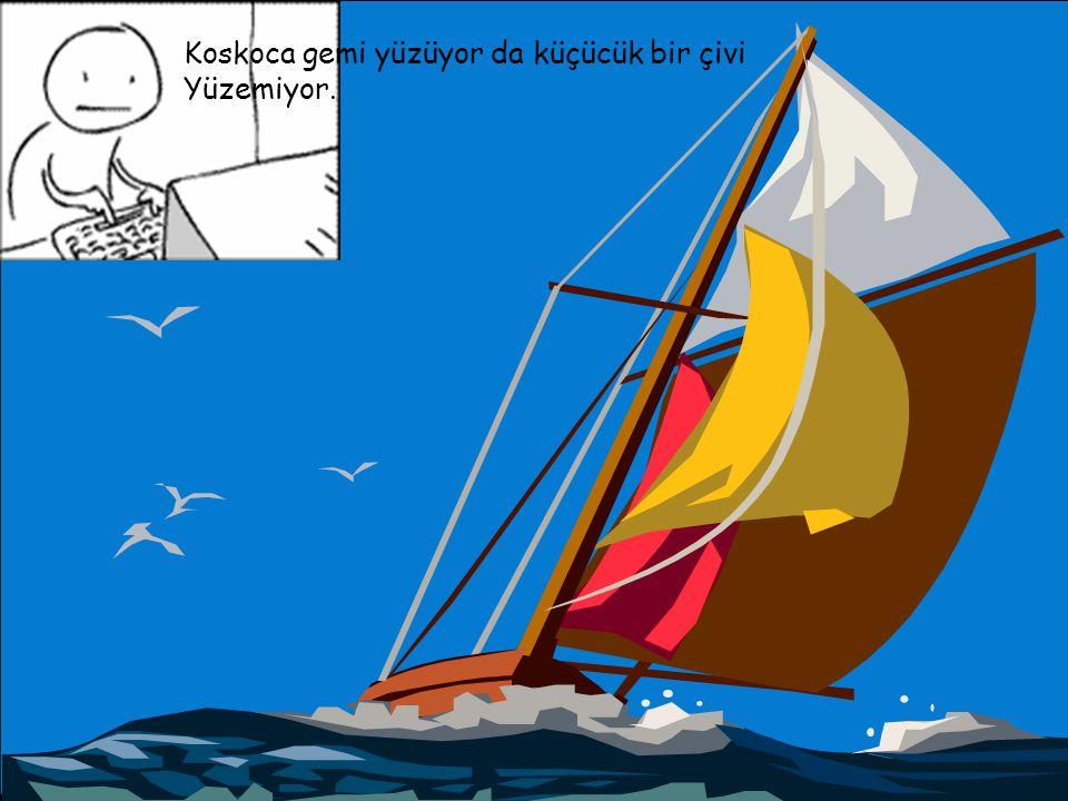 Koskoca gemi yüzüyor da küçücük bir çivi Yüzemiyor.