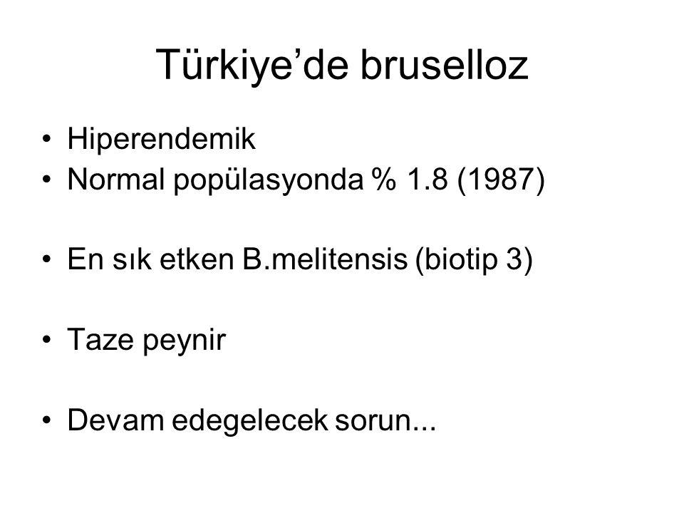 Türkiye'de bruselloz Hiperendemik Normal popülasyonda % 1.8 (1987) En sık etken B.melitensis (biotip 3) Taze peynir Devam edegelecek sorun...
