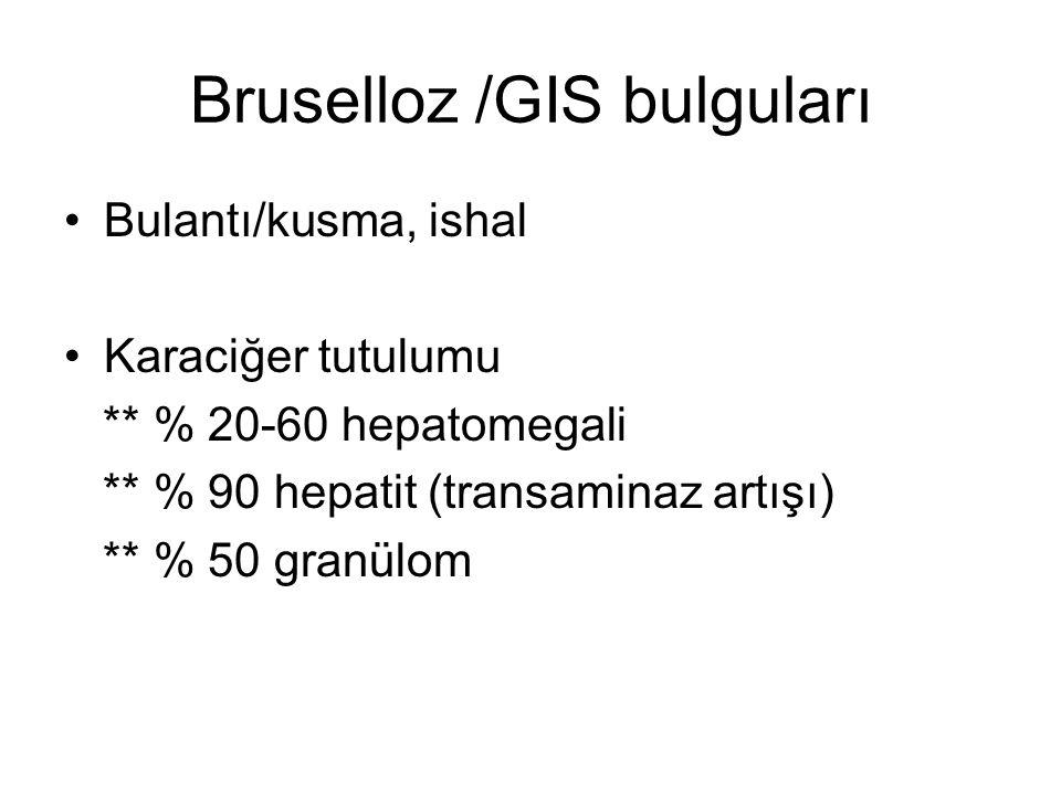 Bruselloz /GIS bulguları Bulantı/kusma, ishal Karaciğer tutulumu ** % 20-60 hepatomegali ** % 90 hepatit (transaminaz artışı) ** % 50 granülom