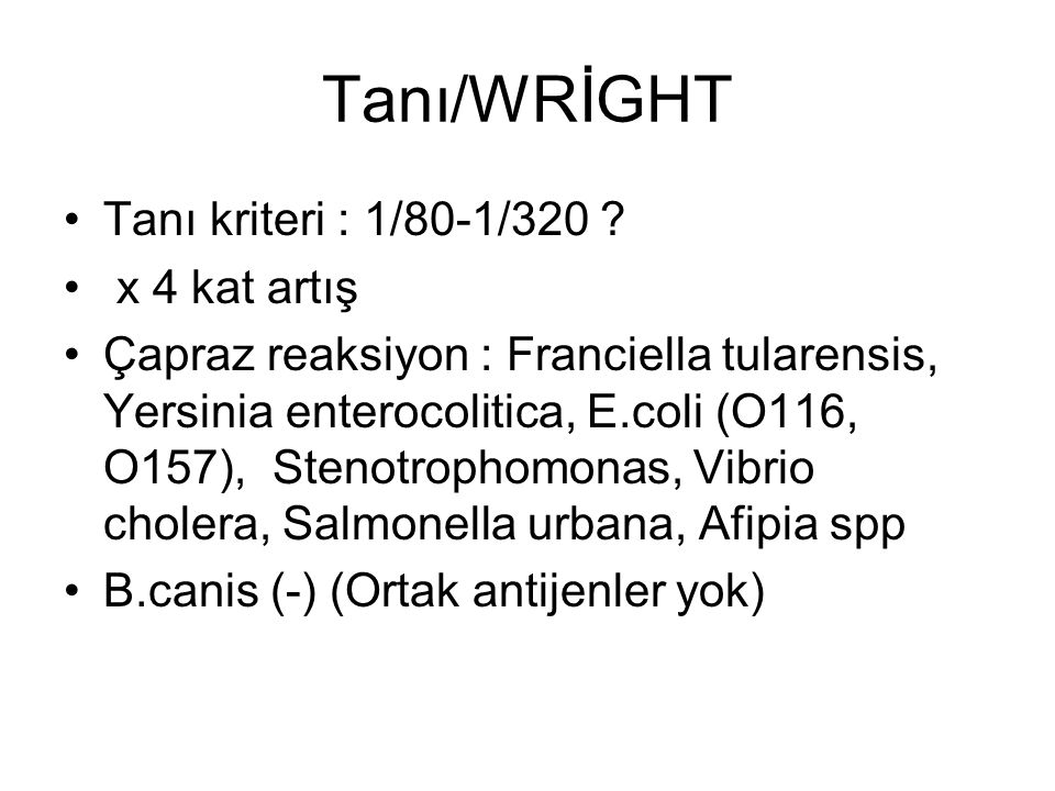 Tanı/WRİGHT Tanı kriteri : 1/80-1/320 ? x 4 kat artış Çapraz reaksiyon : Franciella tularensis, Yersinia enterocolitica, E.coli (O116, O157), Stenotro