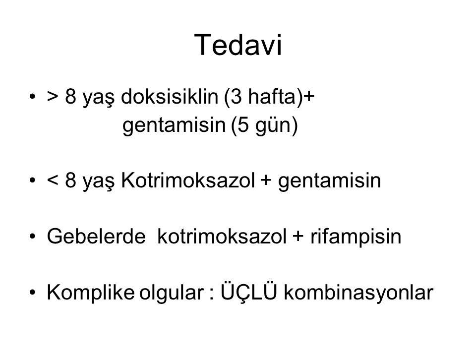 Tedavi > 8 yaş doksisiklin (3 hafta)+ gentamisin (5 gün) < 8 yaş Kotrimoksazol + gentamisin Gebelerde kotrimoksazol + rifampisin Komplike olgular : ÜÇLÜ kombinasyonlar