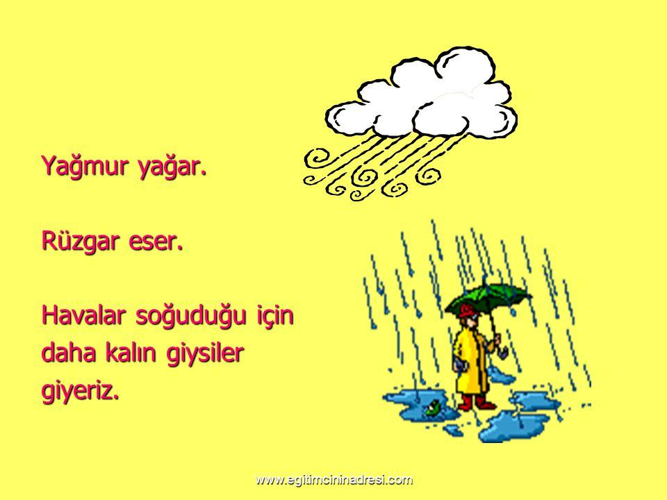 www.egitimcininadresi.com Yağmur yağar. Rüzgar eser. Havalar soğuduğu için daha kalın giysiler giyeriz.