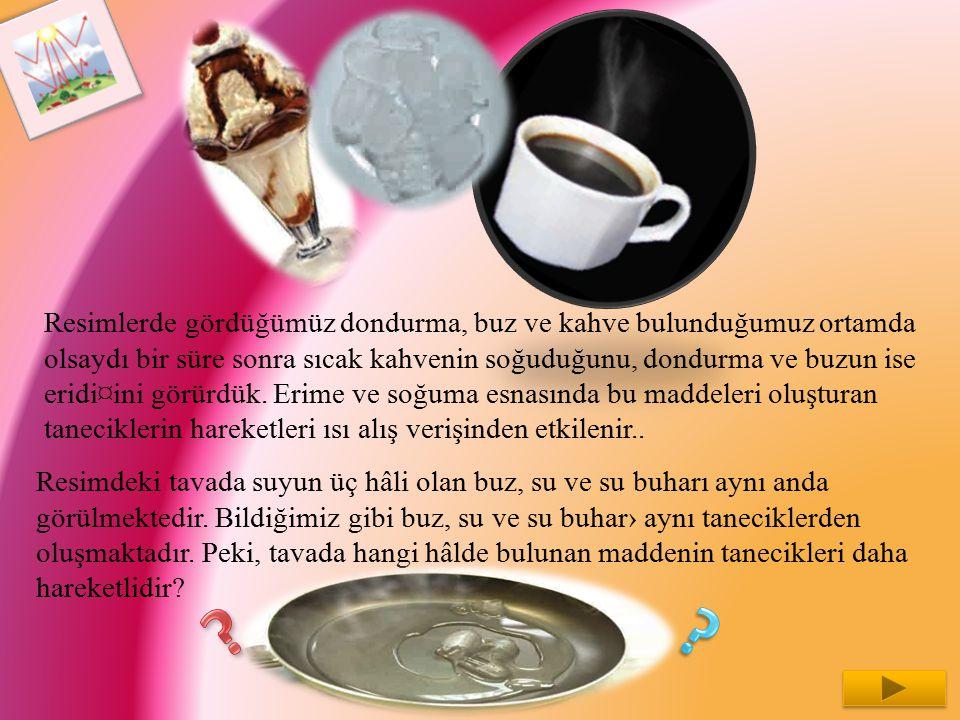 Resimlerde gördüğümüz dondurma, buz ve kahve bulunduğumuz ortamda olsaydı bir süre sonra sıcak kahvenin soğuduğunu, dondurma ve buzun ise eridi¤ini gö