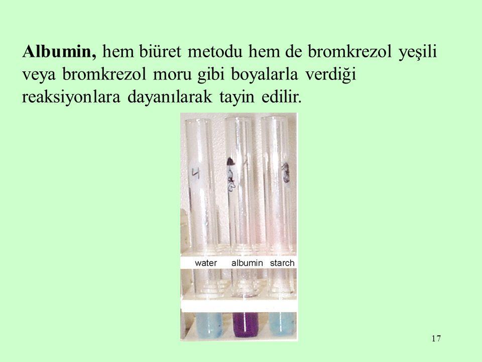 17 Albumin, hem biüret metodu hem de bromkrezol yeşili veya bromkrezol moru gibi boyalarla verdiği reaksiyonlara dayanılarak tayin edilir.