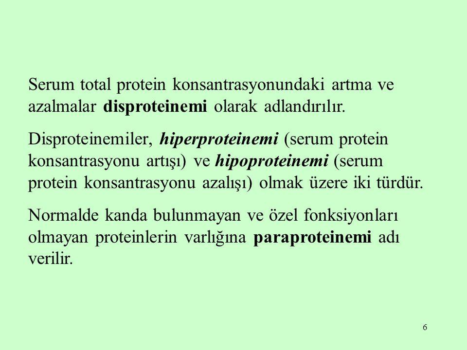 6 Serum total protein konsantrasyonundaki artma ve azalmalar disproteinemi olarak adlandırılır. Disproteinemiler, hiperproteinemi (serum protein konsa