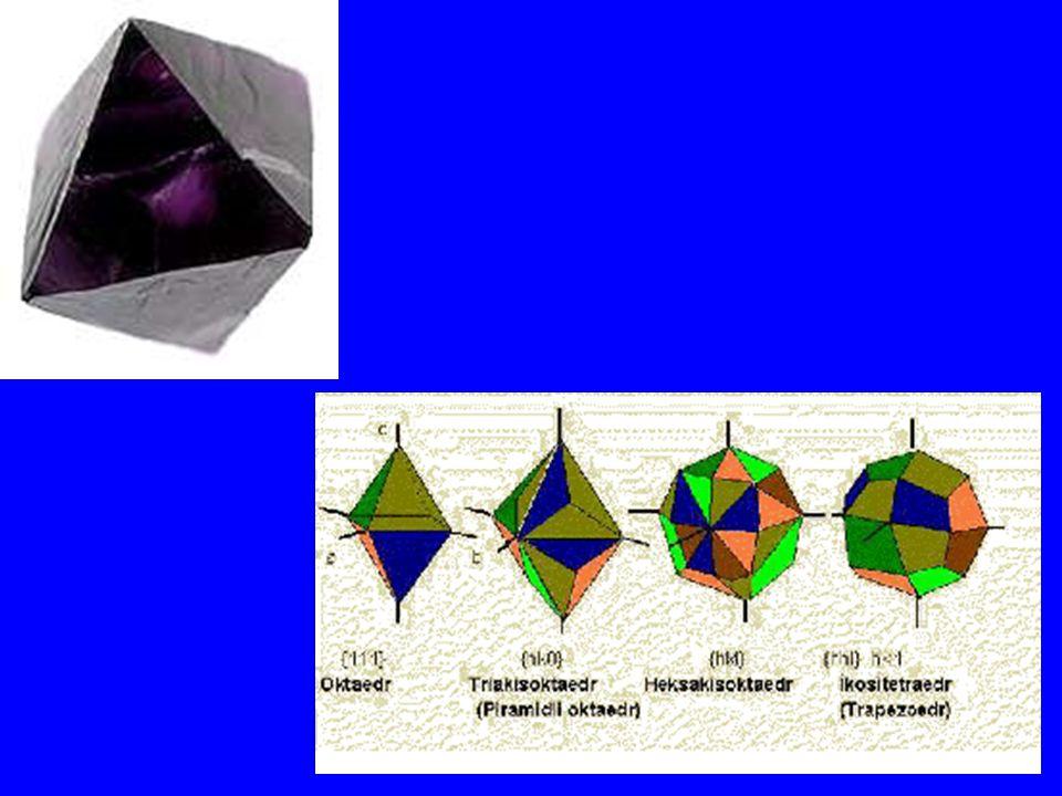 Kristal yüzey şekilleri Eğer bir kristalin yüzey şekli; 1.Kare, dikdörtgen ve eşkenar dörtgenden oluşuyor ise bu tip yüzeye ROMBUS (Örnek: Rombusludodekaeder), 2.Yan yana iki kenarı eşit dörtgenden meydana geliyor ise bu tip yüzeye DELTOİD (Örnek: Deltoidikositetraeder), 3.Paralel kenar, yamuk ise TRAPEZ (Tetragonaltrapezoeder), 4.Beşgen ise PENTAGON (Örnek: Pentagondodekaeder), 5.Altıgen ise HEKSAGON (Örnek: Heksagonal prizma) ve 6.Çokgenlerden oluşuyor ise POLİGON yüzeyli şekil denir.