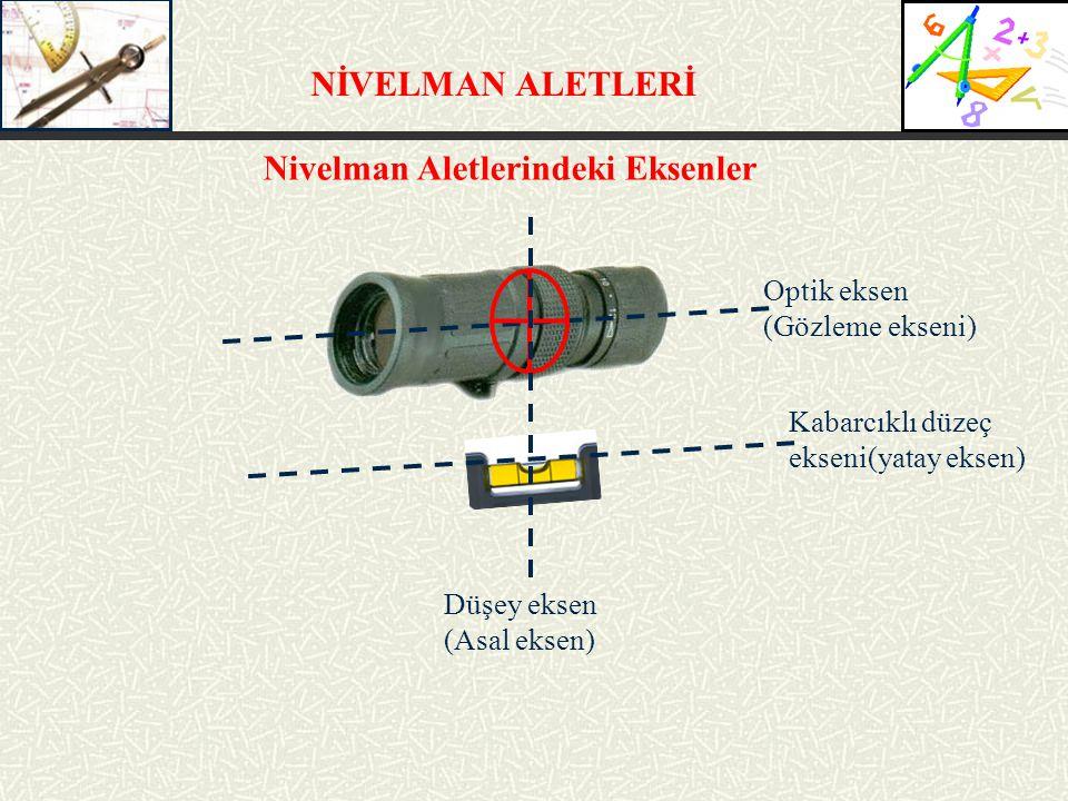 NİVELMAN ALETLERİ Optik eksen (Gözleme ekseni) Kabarcıklı düzeç ekseni(yatay eksen) Düşey eksen (Asal eksen) Nivelman Aletlerindeki Eksenler