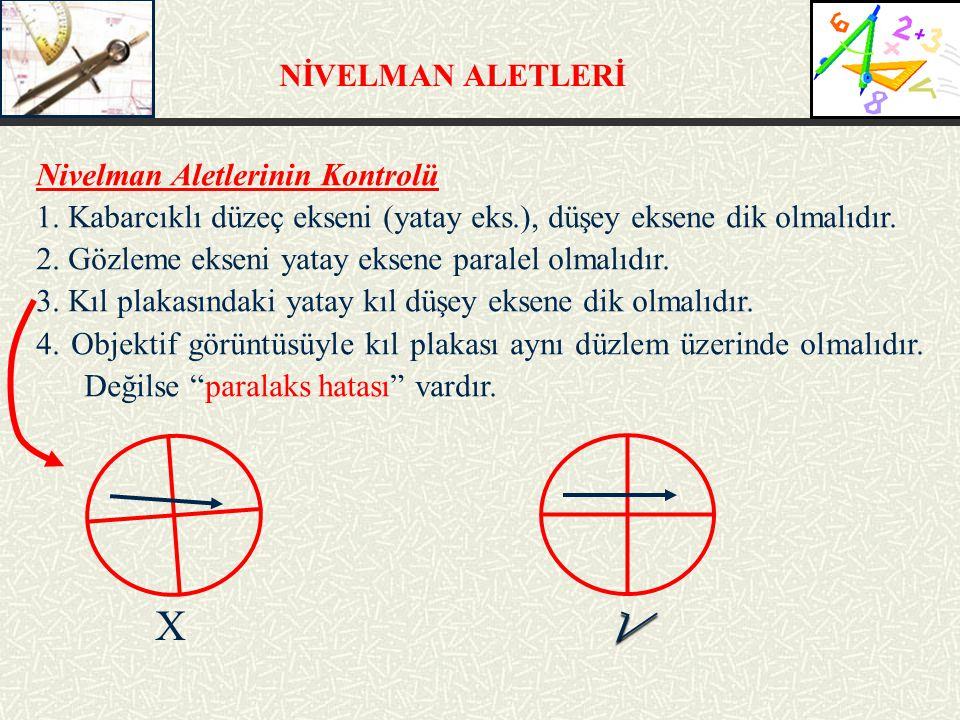 NİVELMAN ALETLERİ Nivelman Aletlerinin Kontrolü 1.