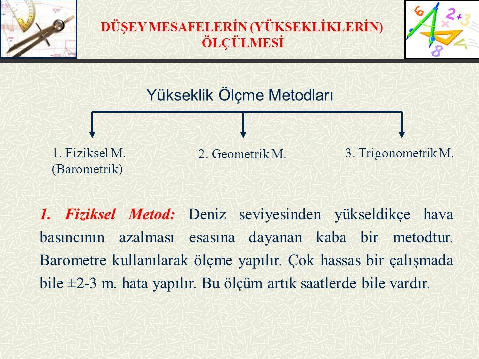 DÜŞEY MESAFELERİN (YÜKSEKLİKLERİN) ÖLÇÜLMESİ Yükseklik Ölçme Metodları 1.