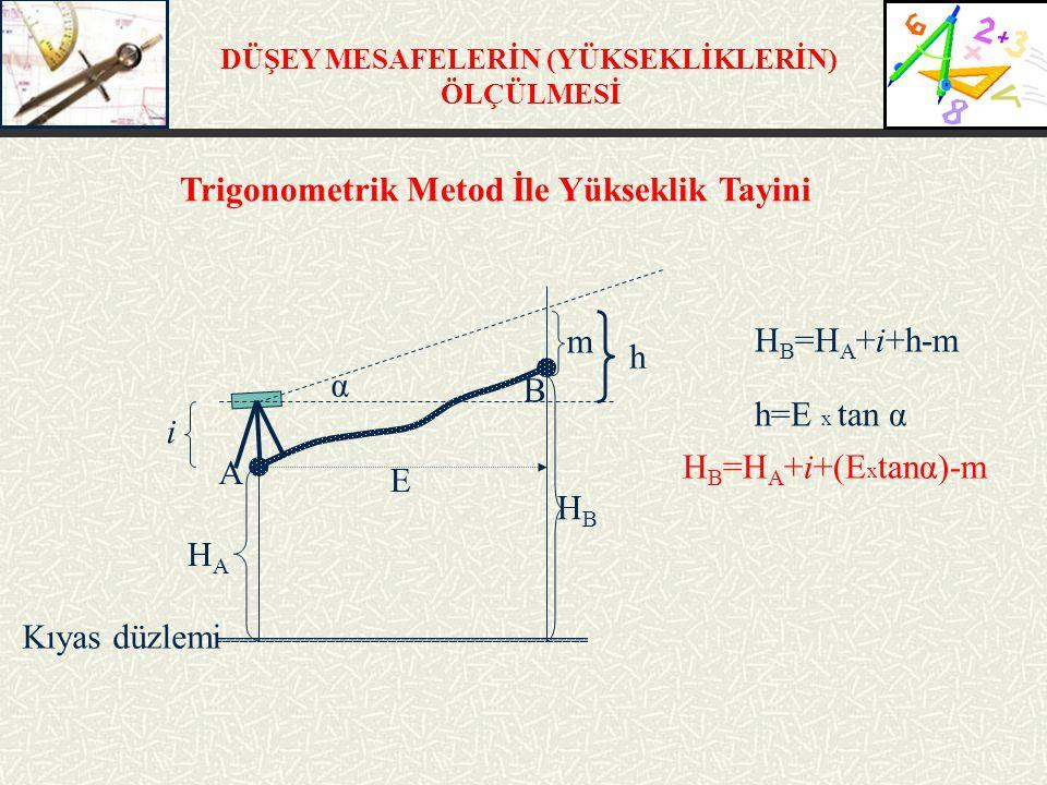 DÜŞEY MESAFELERİN (YÜKSEKLİKLERİN) ÖLÇÜLMESİ H B =H A +i+h-m h=E x tan α i m Kıyas düzlemi HBHB HAHA h B A α E H B =H A +i+(E x tanα)-m Trigonometrik Metod İle Yükseklik Tayini