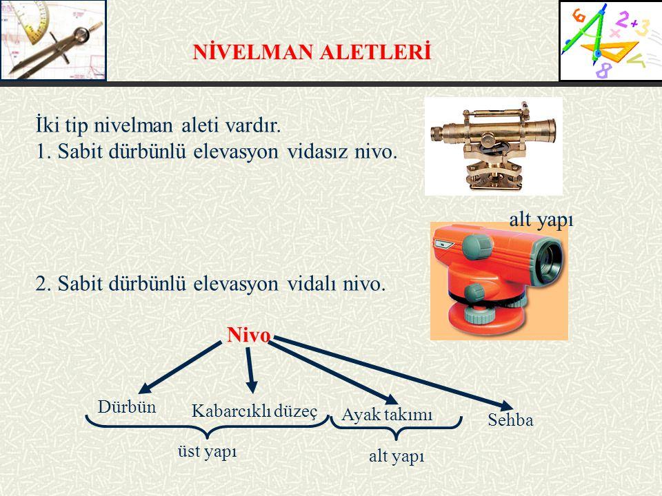NİVELMAN ALETLERİ İki tip nivelman aleti vardır.1.