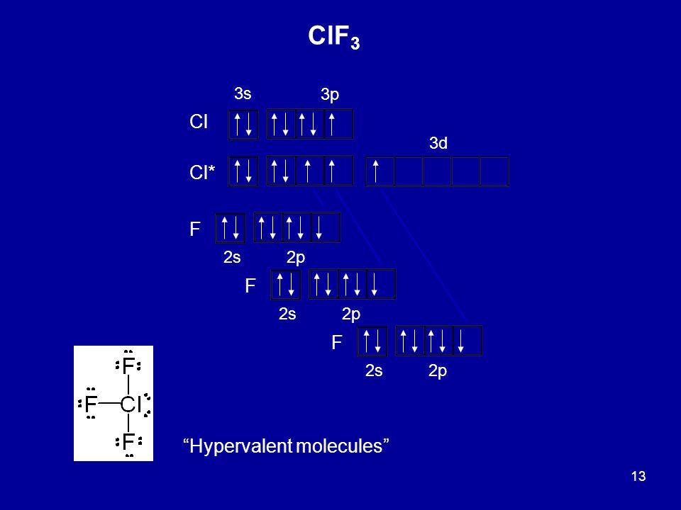 """13 3s 3p Cl Cl* F 2s2p F 2s2p F 2s2p 3d """"Hypervalent molecules"""" ClF 3"""