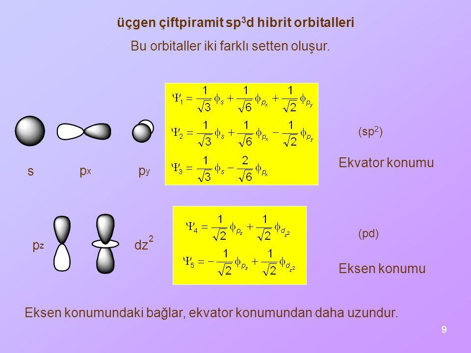 9 üçgen çiftpiramit sp 3 d hibrit orbitalleri (sp 2 ) (pd) Bu orbitaller iki farklı setten oluşur. Eksen konumundaki bağlar, ekvator konumundan daha u