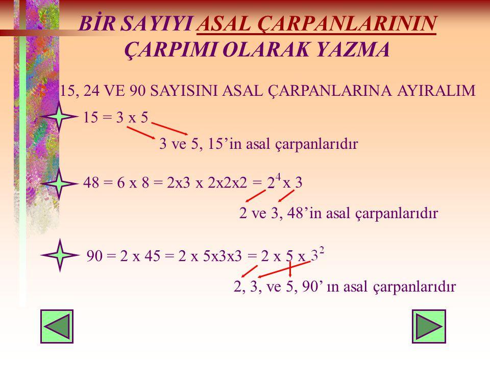BİR SAYIYI ASAL ÇARPANLARININ ÇARPIMI OLARAK YAZMAASAL ÇARPANLARININ 15, 24 VE 90 SAYISINI ASAL ÇARPANLARINA AYIRALIM 15 = 3 x 5 3 ve 5, 15'in asal çarpanlarıdır 48 = 6 x 8 = 2x3 x 2x2x2 = x 3 2 ve 3, 48'in asal çarpanlarıdır 90 = 2 x 45 = 2 x 5x3x3 = 2 x 5 x 2, 3, ve 5, 90' ın asal çarpanlarıdır