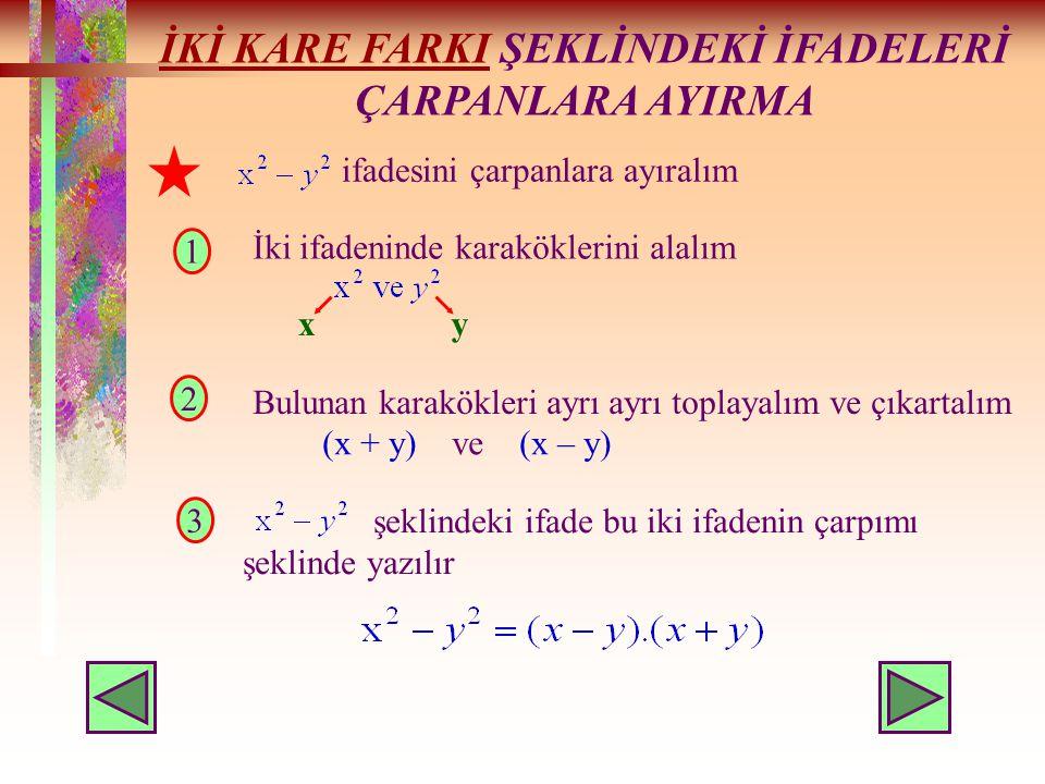 İKİ KARE FARKIİKİ KARE FARKI ŞEKLİNDEKİ İFADELERİ ÇARPANLARA AYIRMA ifadesini çarpanlara ayıralım 1 3 2 İki ifadeninde karaköklerini alalım xy Bulunan karakökleri ayrı ayrı toplayalım ve çıkartalım (x + y) ve (x – y) şeklindeki ifade bu iki ifadenin çarpımı şeklinde yazılır
