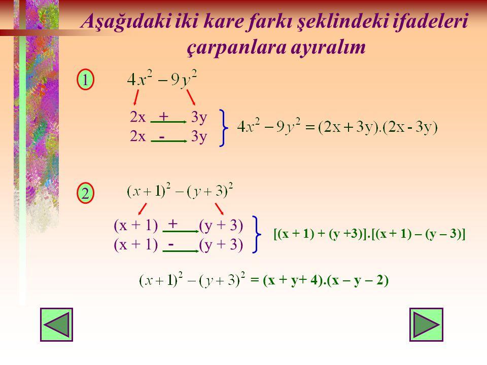 Aşağıdaki iki kare farkı şeklindeki ifadeleri çarpanlara ayıralım 1 2 2x 3y +-+- (x + 1) (y + 3) +-+- [(x + 1) + (y +3)].[(x + 1) – (y – 3)] = (x + y+ 4).(x – y – 2)