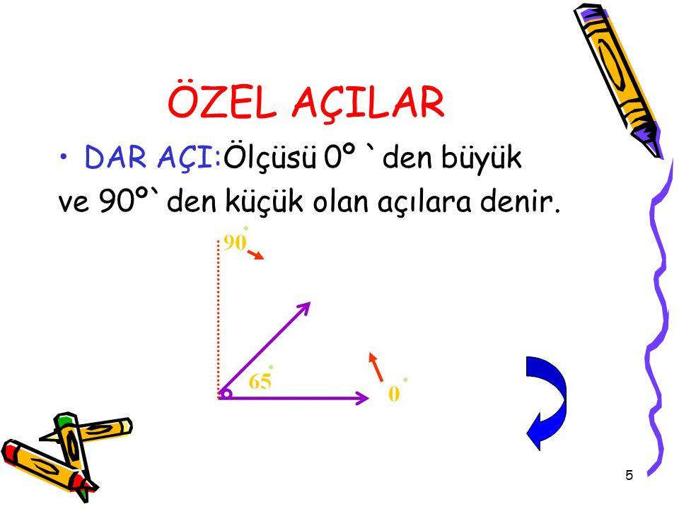 16 1. Ölçüsü 180 derece olan açı hangisidir? A)Dar açı B)Geniş açı C)Doğru açı D)Tümler açı