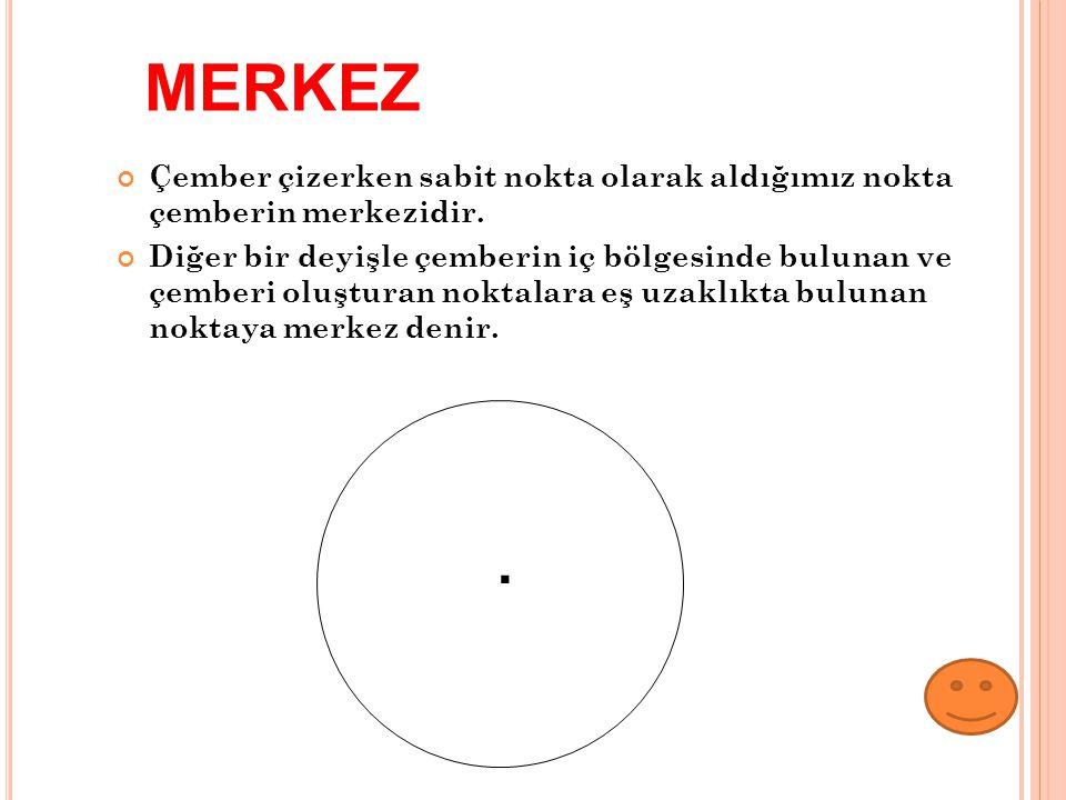 Çember çizerken sabit nokta olarak aldığımız nokta çemberin merkezidir. Diğer bir deyişle çemberin iç bölgesinde bulunan ve çemberi oluşturan noktalar