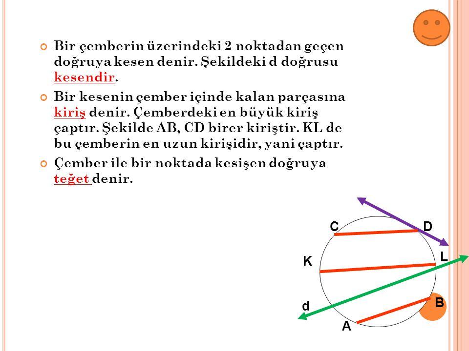 Bir çemberin üzerindeki 2 noktadan geçen doğruya kesen denir. Şekildeki d doğrusu kesendir. Bir kesenin çember içinde kalan parçasına kiriş denir. Çem