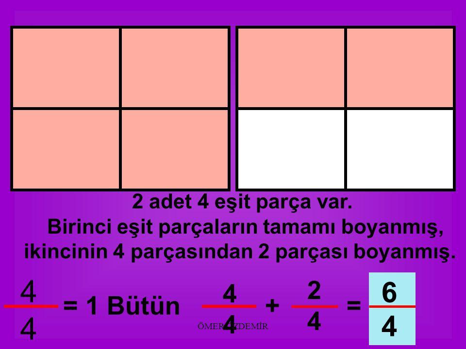 ÖMER ÖZDEMİR 2 adet 4 eşit parça var. Birinci eşit parçaların tamamı boyanmış, ikincinin 4 parçasından 1 parçası boyanmış. 4444 = 1 Bütün 1414 5 4 444